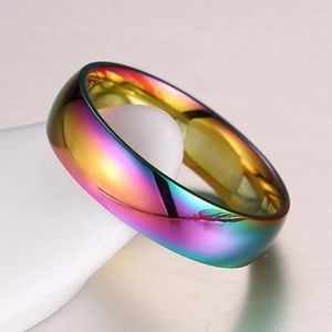 NWT! Rainbow Stainless Steel, iridescent Band Ring